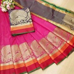 Brahmputra Mart Wedding Wear Banarasi Silk Weaving Saree, 6.3 m (with blouse piece)