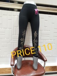 Lycra Cotton Ladies Embroidered Legging, Size: M-XL