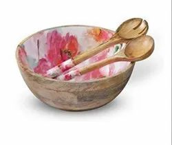 Wooden Cutlery Salad Serving Bowl