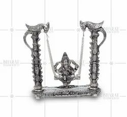 Silver Plated Ganesh On Swing