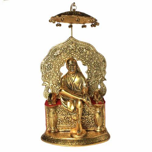 White Metal Golden Sai Baba Singhasan Idol