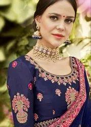Designer Embroidered Festive Wear Georgette & Chanderi Silk Saree
