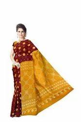 Yellow And Maoron Color Banarasi Georgette Saree