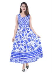Blue Jaipuri Print Cotton Frock