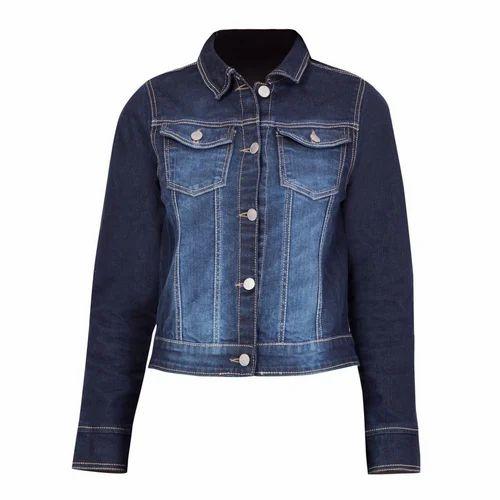 fcfb62e352 Blue Ladies Dark Faded Denim Jacket