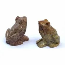 Soapstone Frog Indian Gaurara Multicolor Stone animal statues and figurines for decorative home use.