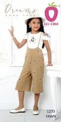 Girl Charming Fawn Print Dungaree And Cream Top With Embroidery
