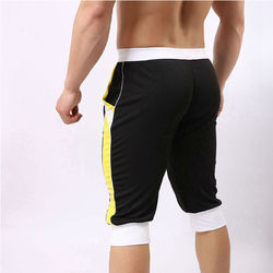 White And Yellow Cotton Mens Sports Capri