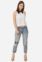 Women Sleeveless Black & White Pearl Top