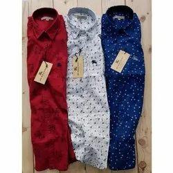 Collar Neck Slim Fit Mens Printed Cotton Shirt
