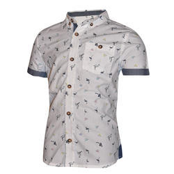 Cotton Plain , Printed Boys Shirt