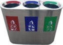 S/Steel 3 in 1 Recycle Bin