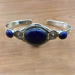 925 Sterling Silver Jewelry Lapis Lazuli Gemstone Bangle