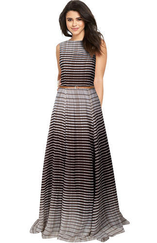 f413dd403f72 Coffee Cotton Sleeveless Striped Long Gown