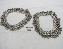 Antique Old Silver Anklet, Size: 11 Inch