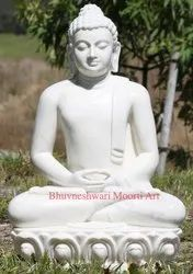 White Marble Meditating Buddha Sculpture 33