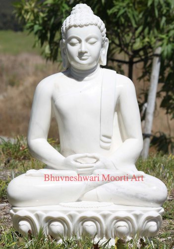 Handmade White Marble Meditating Buddha Sculpture 33 Rs 75000 Piece Id 21404465133