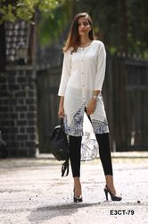 White Printed Fashionable Kurti, Size: XL