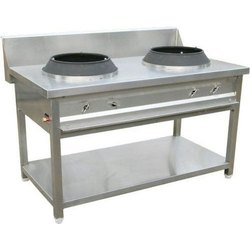 Silver Double Burner Chinese Gas Range