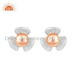 Flower Design White Rhodium Plated Silver Pink Pearl Stud Earrings