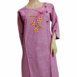 Casual Wear 3/4th Sleeve Cotton Printed Fancy Kurti, Size: S-XL, Machine wash