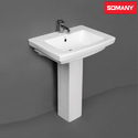 Ceramic Plain Somany Pedestal - Pluto Washbasin, Shape: Rectangular