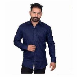 Mens Denim Blue Casual Shirt, Size: S - XXL