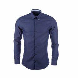 Cotton/Linen Dark Blue Men's Formal Shirt