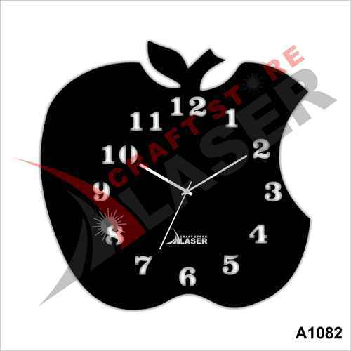 Laser Craft Store Acrylic Apple Designer Wall Clock For Kids Room, A1082