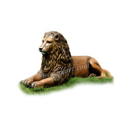 FRP Golden Lion Statue