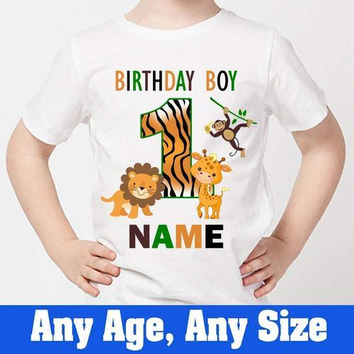 Girls Round Sprinklecart Jungle Themed First Birthday T Shirt Large