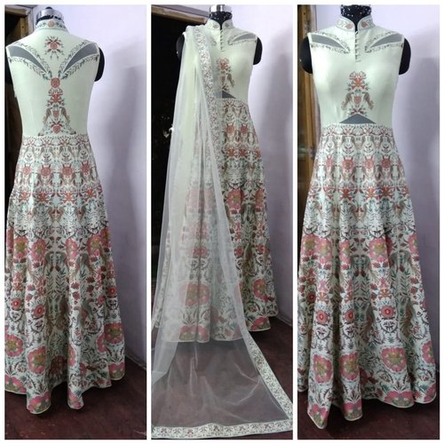 Ladies Chanderi Designer Long Dress