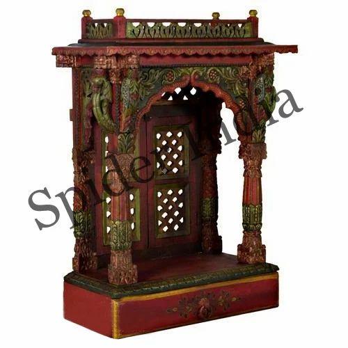 Handcrafted Teak Wood Home Pooja Mandir