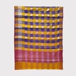 Yellow Blue Chanderi Silk Saree