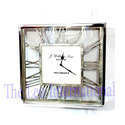 Square Shape Roman Letter Aluminium Dial Nickel Finish Wall Clock