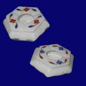 White Marble Ashtray With Inlay Work