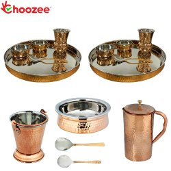 Choozee - Stainless Steel Copper Thali Set with Serveware & Hammered Jug and Matka Glass (15 Pcs), S