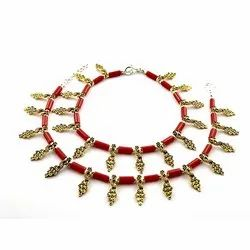 Oxidized Red Stone Golden Anklets