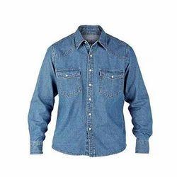 Men Denim Collar Neck Shirt, Size: S - XL