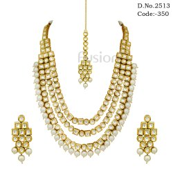 3 Line Designer Pearl Kundan Necklace Set