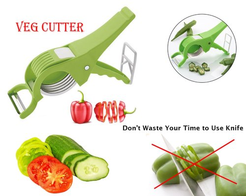 2 in 1 Vegetable Cutter Chopper Slicer with Peeler and Locking System, Multicolored