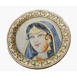 Marble Plate Lady Portrait Double Framing