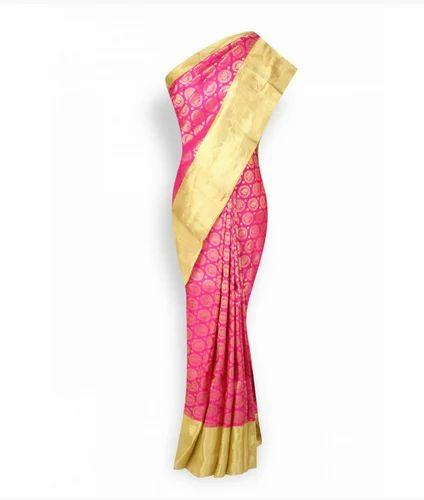 Hot Pink With Gold Border Pure Designer Kanchipuram Silks Saree