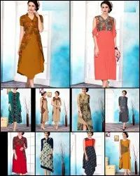 A-Line Formal Wear Printed Fancy Kurti