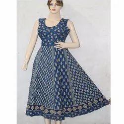 Ladies Jaipuri Print Hand Block Frock