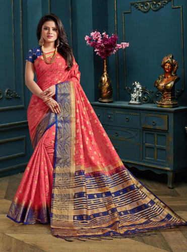 5fd981a16c White & Red Ethnic Kanjivaram Silk Saree, Rs 695 /piece, Saree ...
