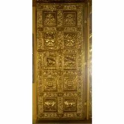 Golden Polished Brass Temple Door, Single