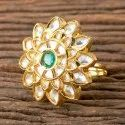 Brass Round Designer Gold Plated Classic Ring 350340
