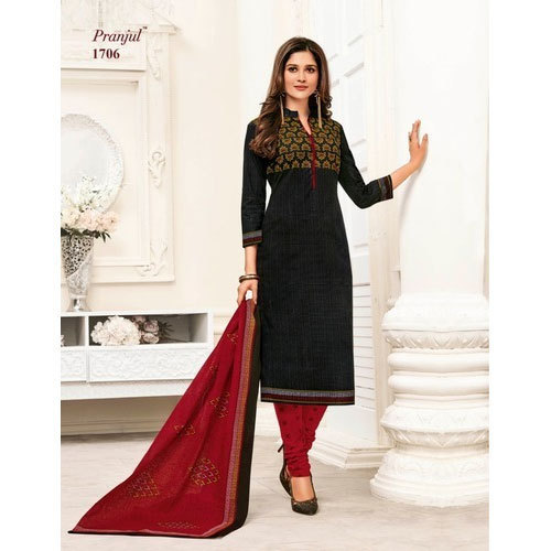 Red and Black Pranjul 3/4th Cotton Churidar Suit, 1 Set Includes: 1 Salwar,1 Kameez and Dupatta