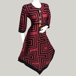 V Cut Red and Black Rayon Kurti
